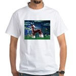 Lilies / Chinese Crested White T-Shirt