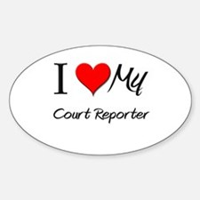 I Heart My Court Reporter Oval Decal