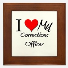 I Heart My Corrections Officer Framed Tile