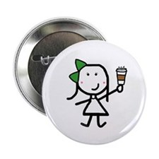 """Girl & Coffee 2.25"""" Button (10 pack)"""