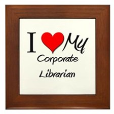 I Heart My Corporate Librarian Framed Tile