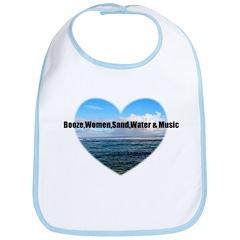 booze,WOMEN,sand,water & music Bib
