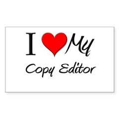 I Heart My Copy Editor Rectangle Decal