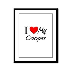 I Heart My Cooper Framed Panel Print