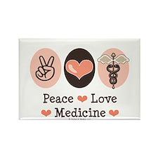 Peace Love Medicine Caduceus Rectangle Magnet