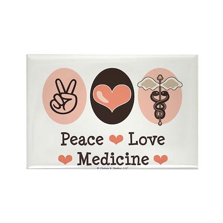 Peace Love Medicine Caduceus Rectangle Magnet (100
