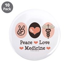 "Peace Love Medicine Caduceus 3.5"" Button (10 pack)"