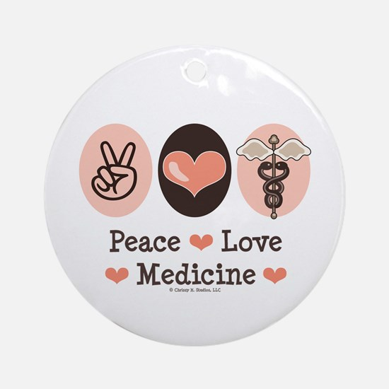 Peace Love Medicine Caduceus Ornament (Round)