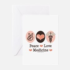 Peace Love Medicine Caduceus Greeting Cards (Pk of