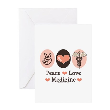 Peace Love Medicine Caduceus Greeting Card