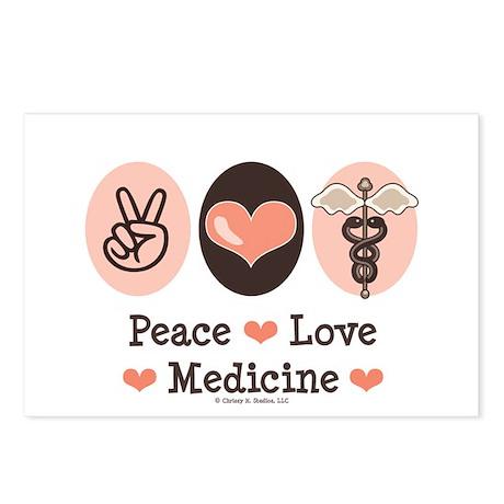 Peace Love Medicine Caduceus Postcards (Package of