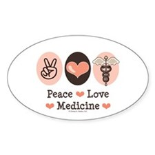 Peace Love Medicine Caduceus Oval Decal