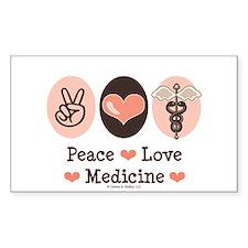 Peace Love Medicine Caduceus Rectangle Decal