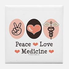 Peace Love Medicine Caduceus Tile Coaster