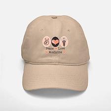 Peace Love Medicine Caduceus Baseball Baseball Cap