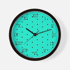 Aqua and Black Dotted Wall Clock