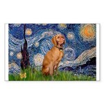 Starry Night / Vizsla Sticker (Rectangle)