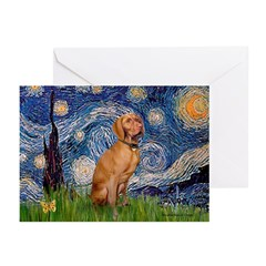 Starry Night / Vizsla Greeting Cards (Pk of 10)