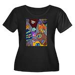 Astroids Women's Plus Size Scoop Neck Dark T-Shirt