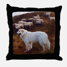 "Great Pyrenees Throw Pillow ""Guarding the Flock"""