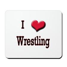 I Love (Heart) Wrestling Mousepad