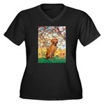 Spring / Vizsla Women's Plus Size V-Neck Dark T-Sh