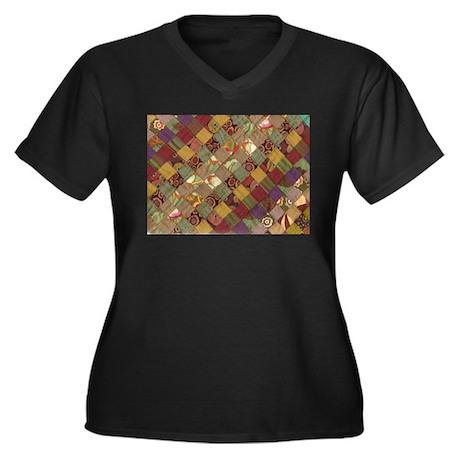 quilty Women's Plus Size V-Neck Dark T-Shirt