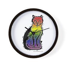 Rainbow Gay Pride Cat Wall Clock
