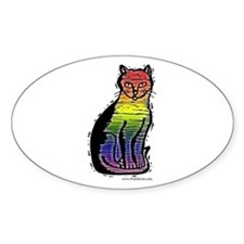 Rainbow Gay Pride Cat Oval Decal