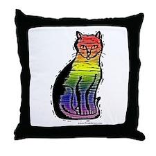 Rainbow Gay Pride Cat Throw Pillow