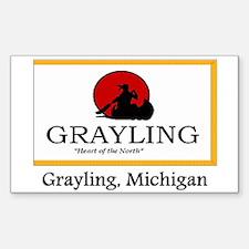Grayling MI Flag Rectangle Decal