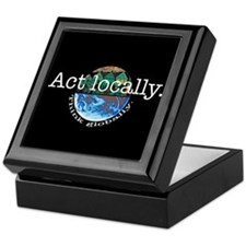 Act Locally Think Globally Keepsake Box