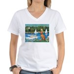 Sailboats / Vizsla Women's V-Neck T-Shirt