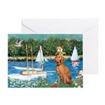 Sailboats / Vizsla Greeting Card