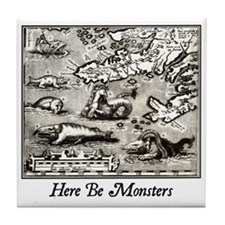 Here Be Monsters Tile Coaster
