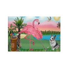 Golfing Flamingo & Corgi Rectangle Magnet (10 pack