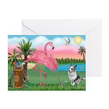 Golfing Flamingo & Corgi Greeting Card