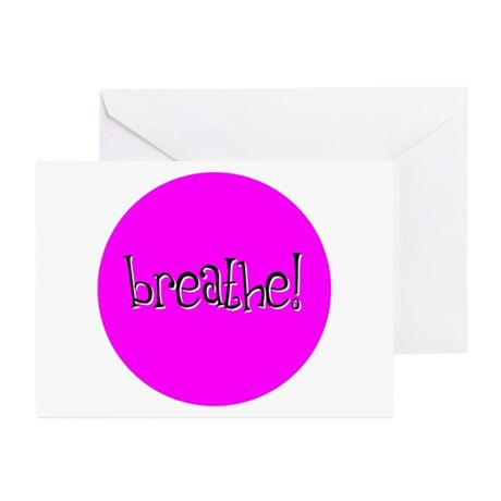 Breathe Pink Greeting Cards (Pk of 10)