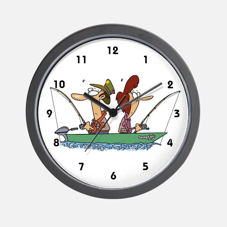 Fisherman clocks fisherman wall clocks large modern for Fish wall clock