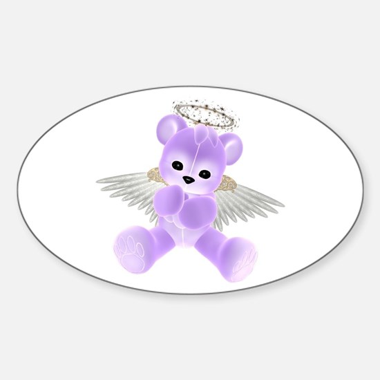 PURPLE ANGEL BEAR 2 Oval Decal