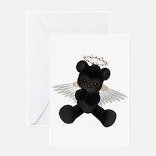 BLACK ANGEL BEAR Greeting Card