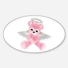 PINK ANGEL BEAR 2 Oval Decal
