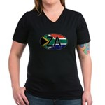South Africa Colors Oval Women's V-Neck Dark T-Shi