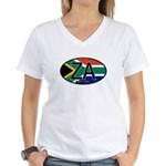 South Africa Colors Oval Women's V-Neck T-Shirt