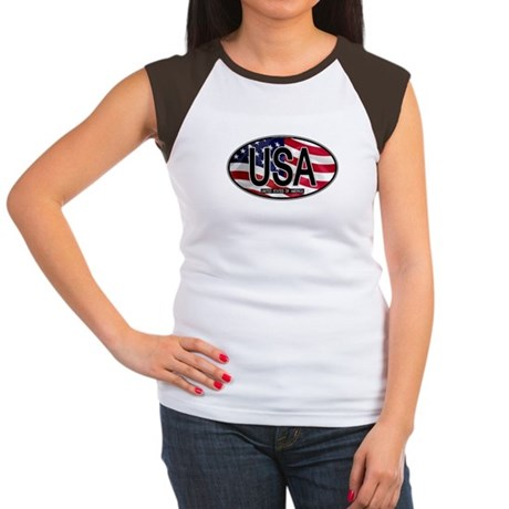 USA Colors Oval 2 Women's Cap Sleeve T-Shirt