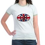 Great Britain Colors Oval Jr. Ringer T-Shirt