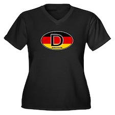 Germany Colors Oval Women's Plus Size V-Neck Dark