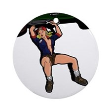 CAR MECHANIC GIRL Ornament (Round)