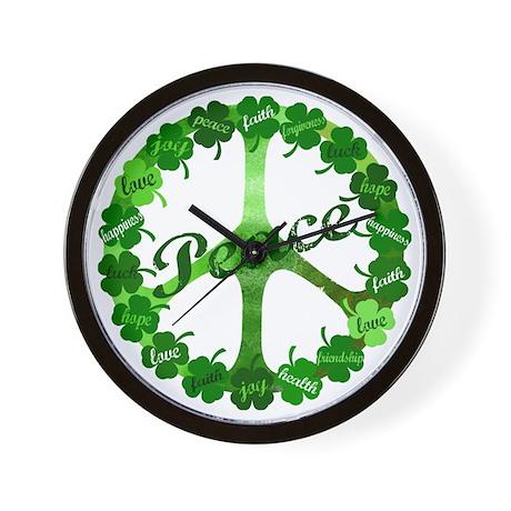 Irish Peace Love and Shamrocks Wall Clock