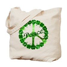 Irish Peace Love and Shamrocks Tote Bag